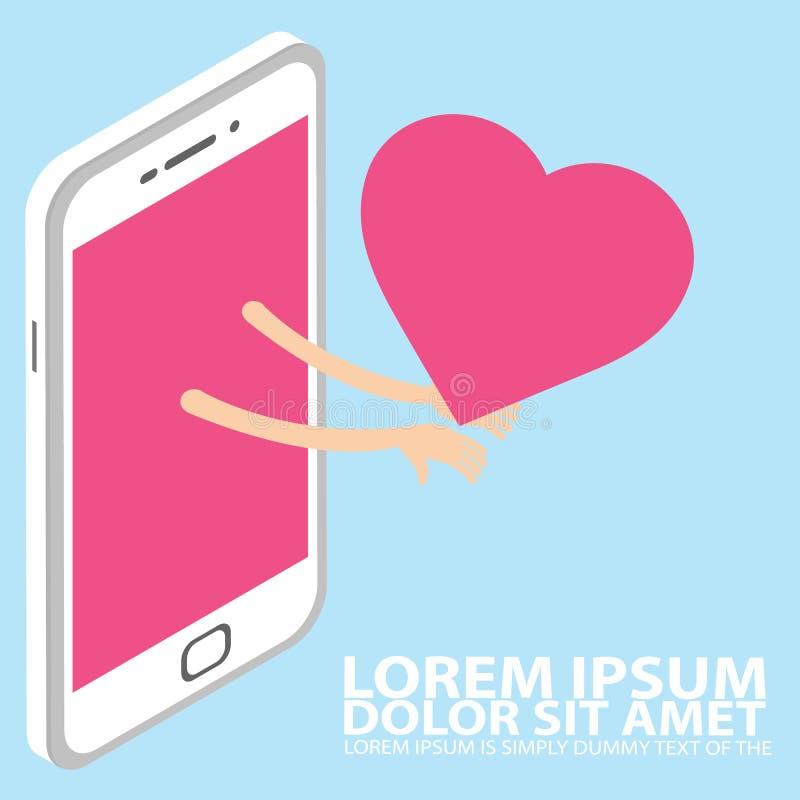 De slimme telefoonhand die een hart houden vertegenwoordigt liefde, vector illustratie
