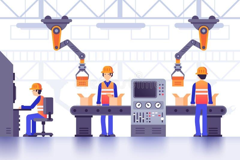 De slimme transportband van de vervaardigingsfabriek Moderne industriële productie, computergestuurde de lijnvector van fabrieksm royalty-vrije illustratie