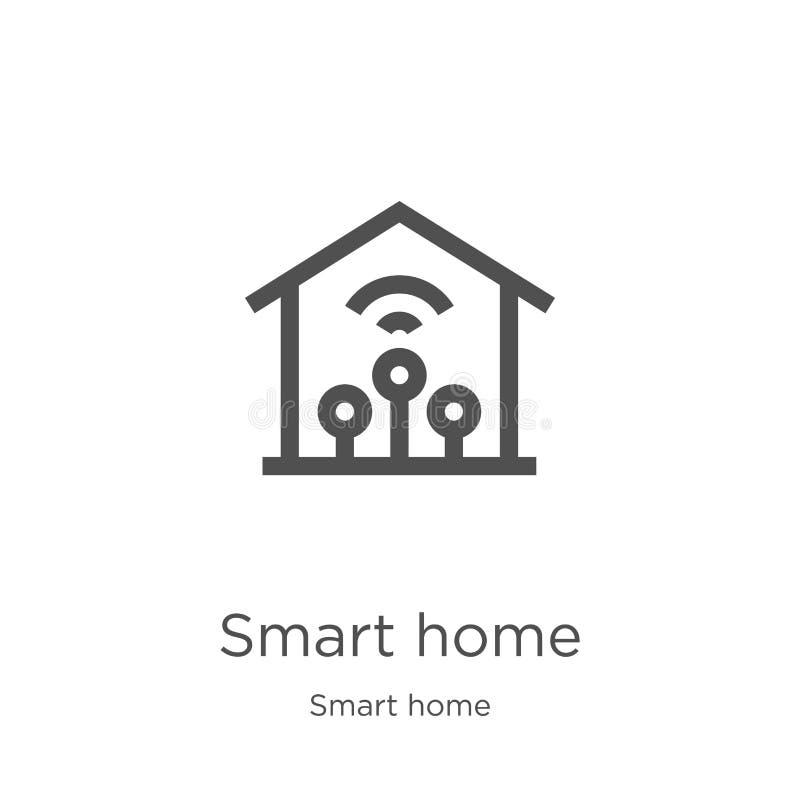 de slimme vector van het huispictogram van slimme huisinzameling De dunne van het het overzichtspictogram van het lijn slimme hui vector illustratie