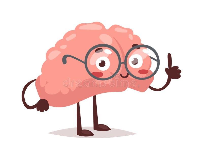 De slimme vectorillustratie van het hersenenkarakter vector illustratie