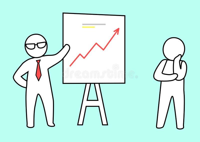 De slimme Vectorillustratie van Leidersshowing his plan vector illustratie