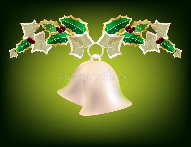 De slinger van Kerstmis met zilveren klokken vector illustratie
