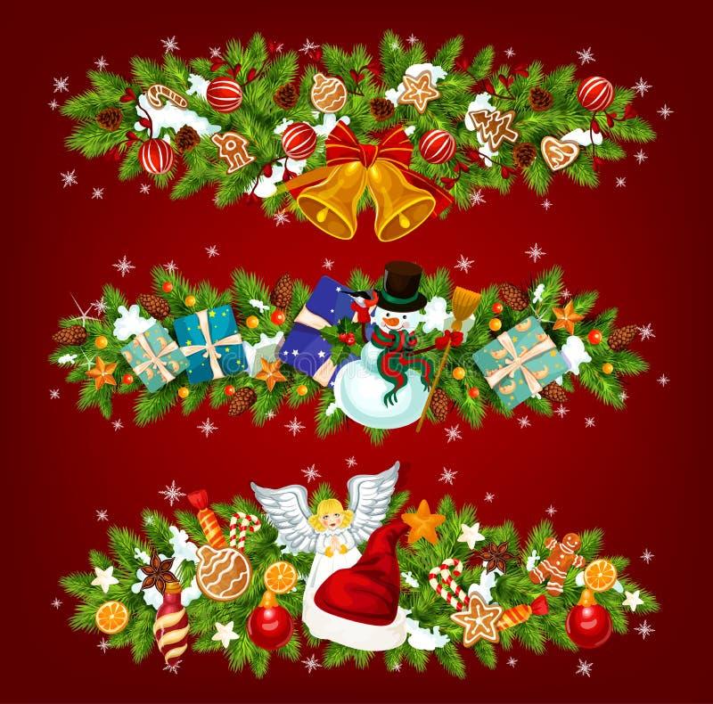 De slinger van de nieuwjaarvakantie van Kerstboom, gift royalty-vrije illustratie