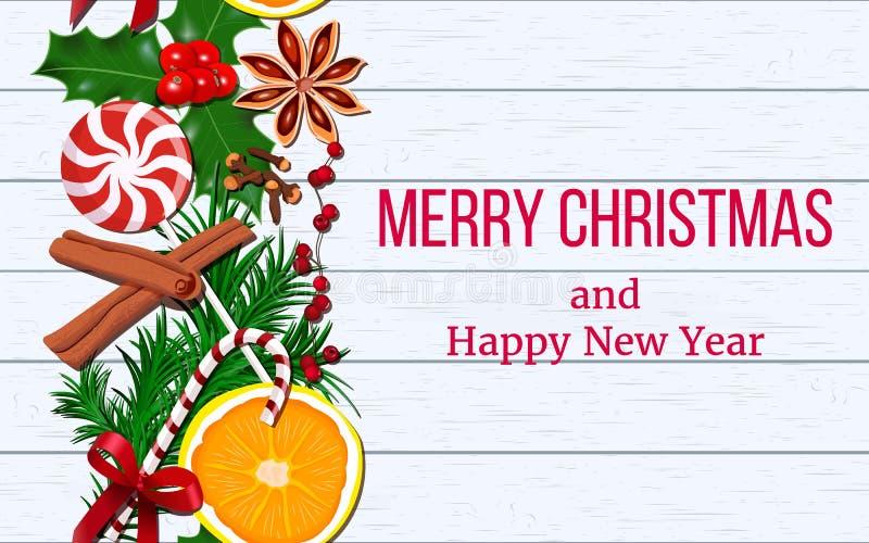 De de slingerdecoratie van het Kerstmiskader van hulst, anijsplant, kaneel, sinaasappel, kruidnagels met verse spar vertakt zich  royalty-vrije illustratie