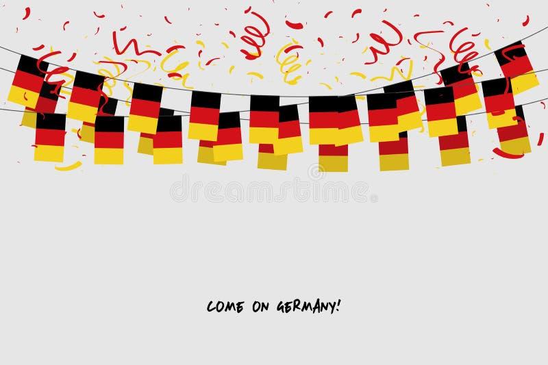 De de slingervlag van Duitsland met confettien op grijze achtergrond, hangt bunting voor de banner van het de vieringsmalplaatje  vector illustratie