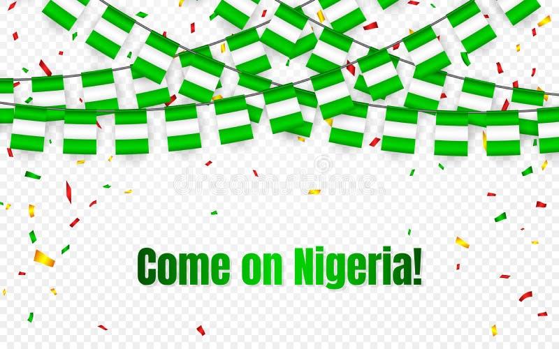De de slingervlag van Nigeria met confettien op transparante achtergrond, hangt bunting voor de banner van het vieringsmalplaatje stock illustratie