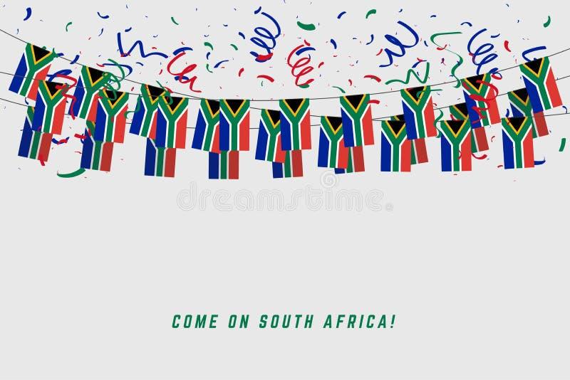 De slingervlag van Zuid-Afrika met confettien op grijze achtergrond stock illustratie