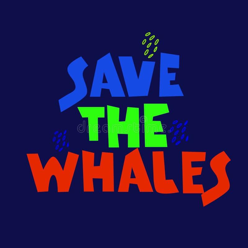 De slogan van walvisverdedigers Vraag ophouden dodend walvissen Expressieve hand vette letter op mariene kleurenachtergrond stock illustratie