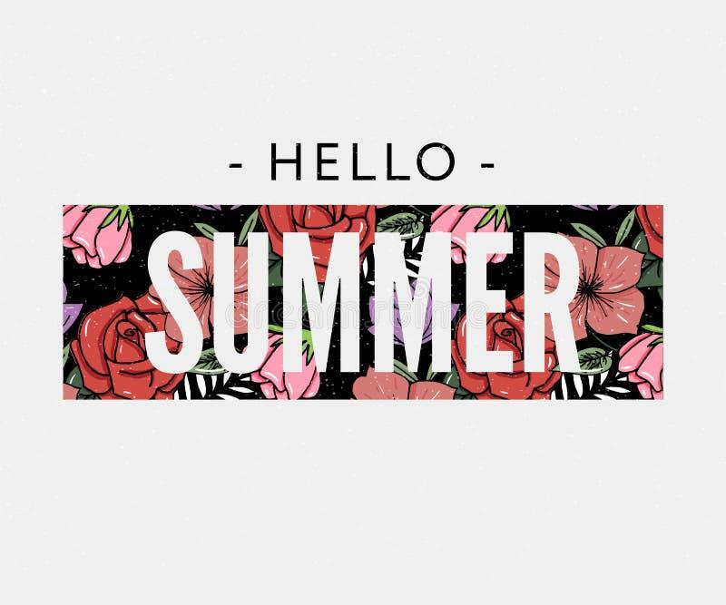 de slogan van de de zomervakantie met ananas en de tropische van de de Verkoopvakantie van de bloemillustratie Affiche van de de  vector illustratie