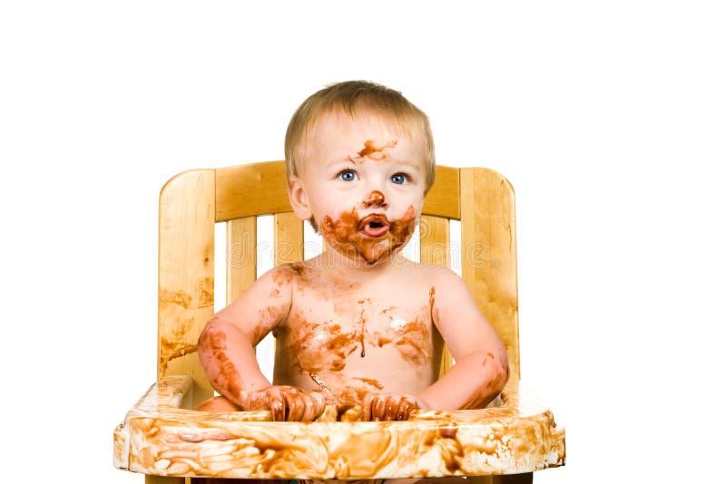 De slordige Geïsoleerdee Jongen van de Baby stock afbeelding