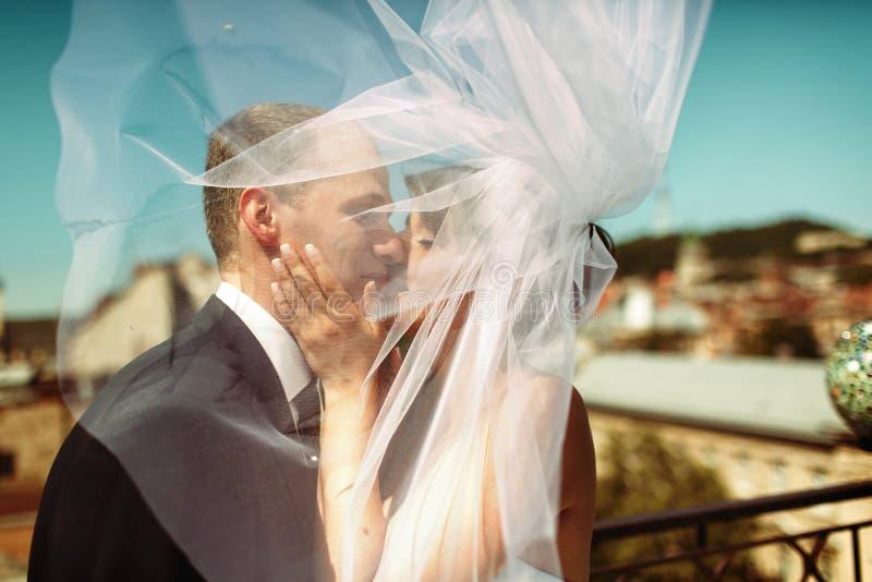 De sluier verbergt gezichten van het kussen van enkel echtpaar royalty-vrije stock afbeeldingen