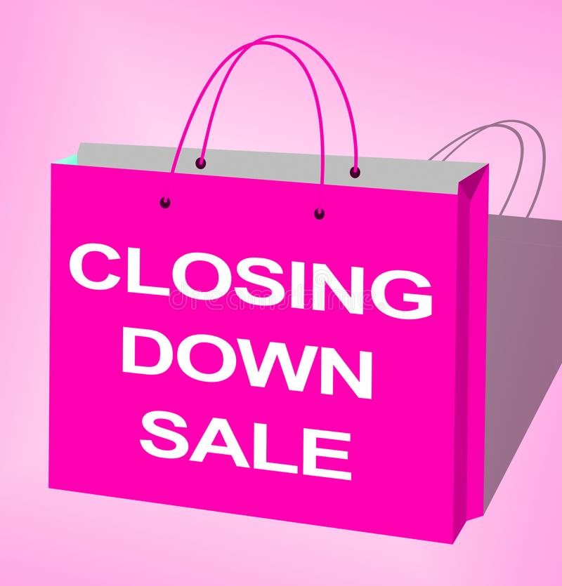 De sluiting van Verkoop toont het Sluiten Koopjes 3d Illustratie vector illustratie