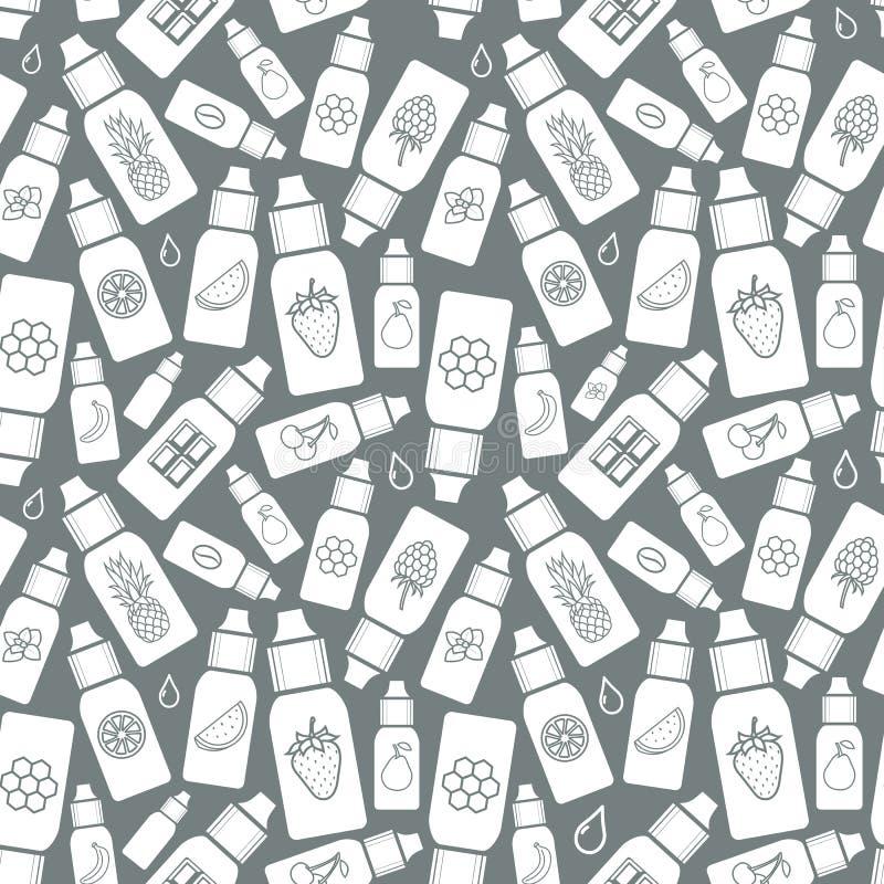 De smaak van de elektronische sigaret, patroon van e-Vloeistof vector illustratie