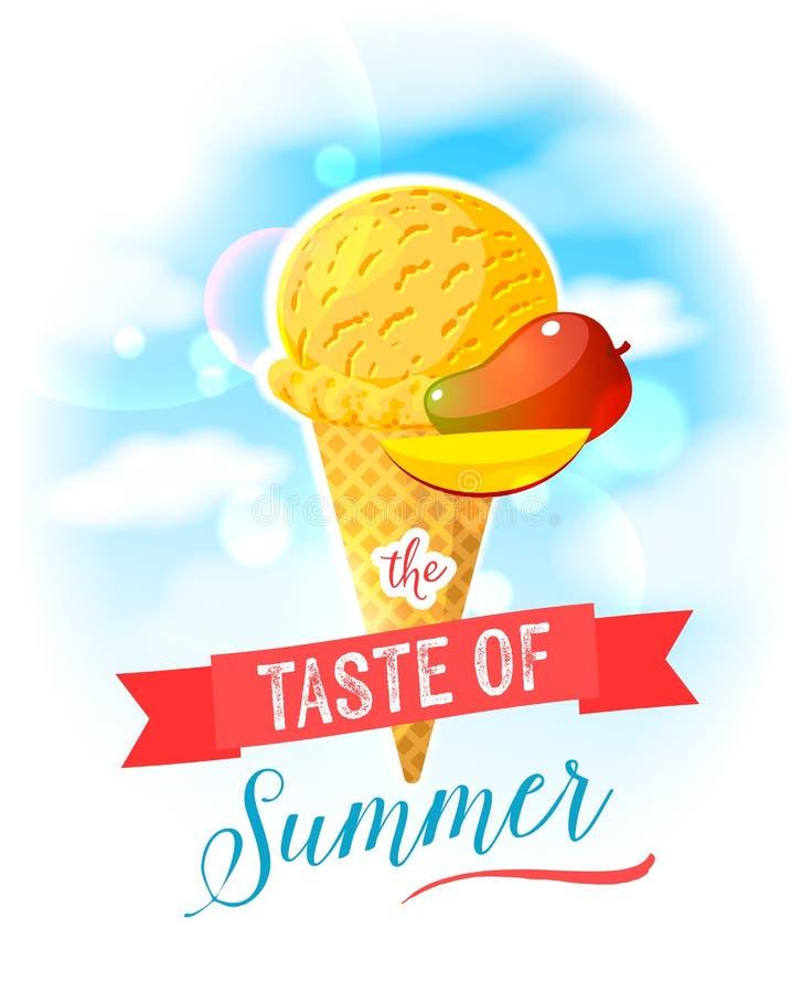 De smaak van de zomer Heldere kleurrijke affiche met de kegel van het mangoroomijs op de hemelachtergrond vector illustratie