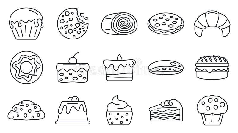 De smakelijke geplaatste banketbakkerijpictogrammen, schetsen stijl vector illustratie