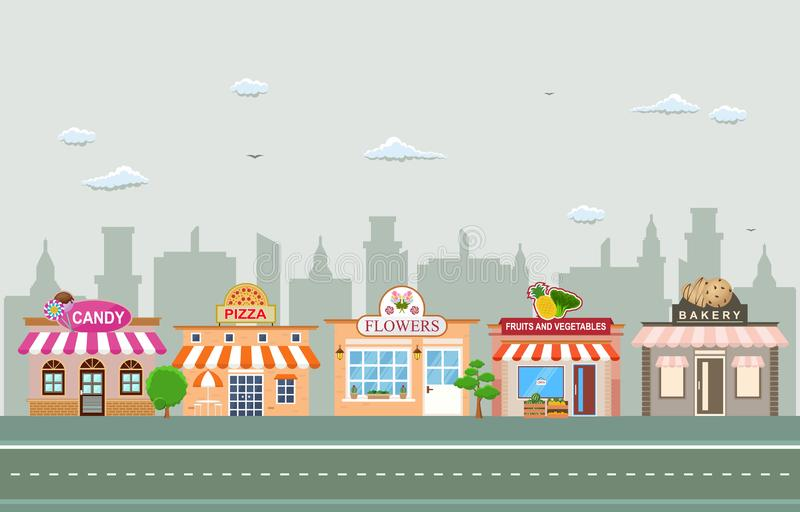 De Small Businesslandschap van de winkelopslag in Stad Stedelijk met de Illustratie van de Boomhemel vector illustratie