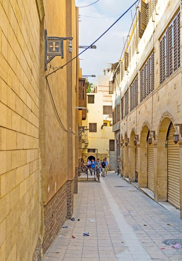 De smalle straat in Koptisch kwart royalty-vrije stock afbeelding