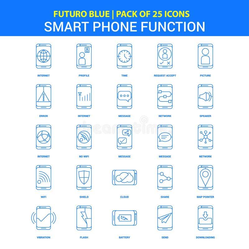 De smartphone functioneert Pictogrammen - Blauw 25 Pictogrampak van Futuro vector illustratie
