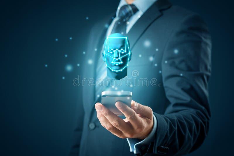 De smartphone van de gezichtsidentificatie opent stock afbeelding