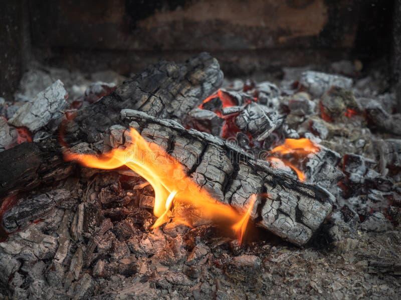De smeulende brand, sluit omhoog mening Gloeiende sintels die met oranje vlam branden Smeulende open haard in de moestuin stock foto