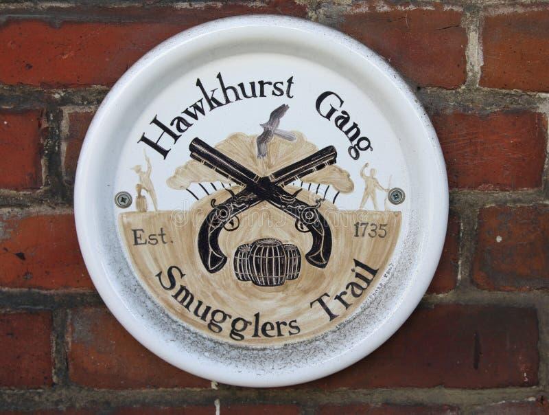 De smokkelaars van Hawkhurstgange slepen wit en geschilderd teken royalty-vrije stock afbeelding
