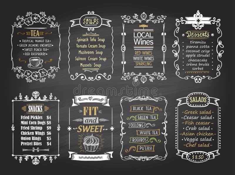 De snacks, de salades, de desserts, de soepen, het de lokal wijnen en menu van het theebord maken een lijst geplaatste van ontwer royalty-vrije illustratie