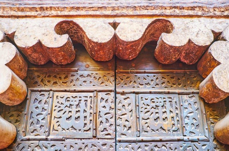 De sned detaljerna av minbar av Sultan Hassan Mosque, Kairo, Egy fotografering för bildbyråer