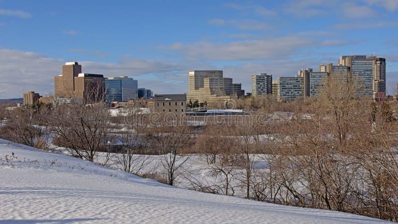 De sneeuw behandelde stadspark met naakte bomen en flat en bureautorens erachter in Ottawa royalty-vrije stock foto's