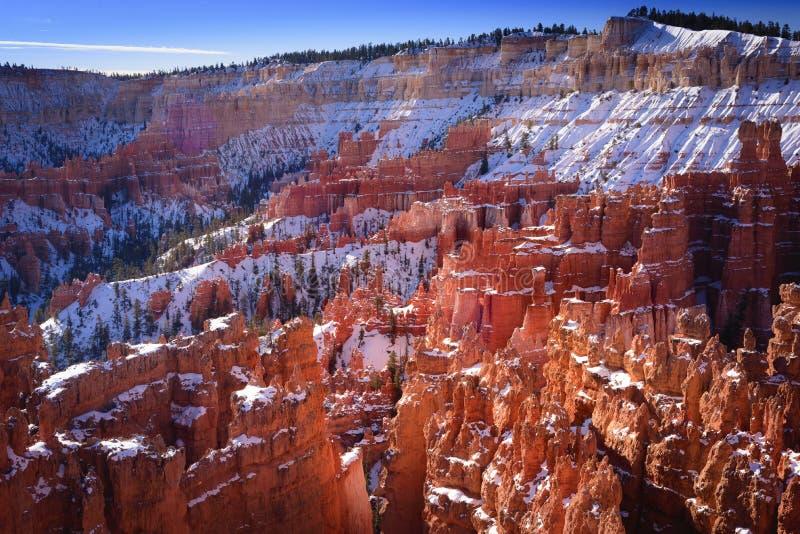 De sneeuw caped ongeluksboden in Bryce-canion royalty-vrije stock afbeeldingen