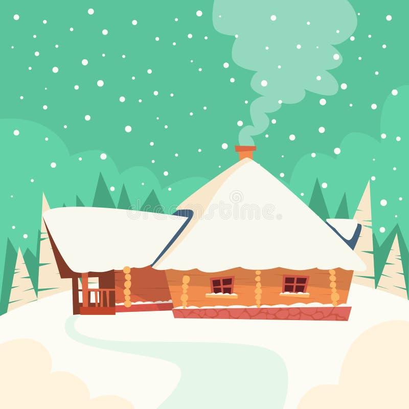 De Sneeuw Forest Flat Vector van het de winterhuis stock illustratie