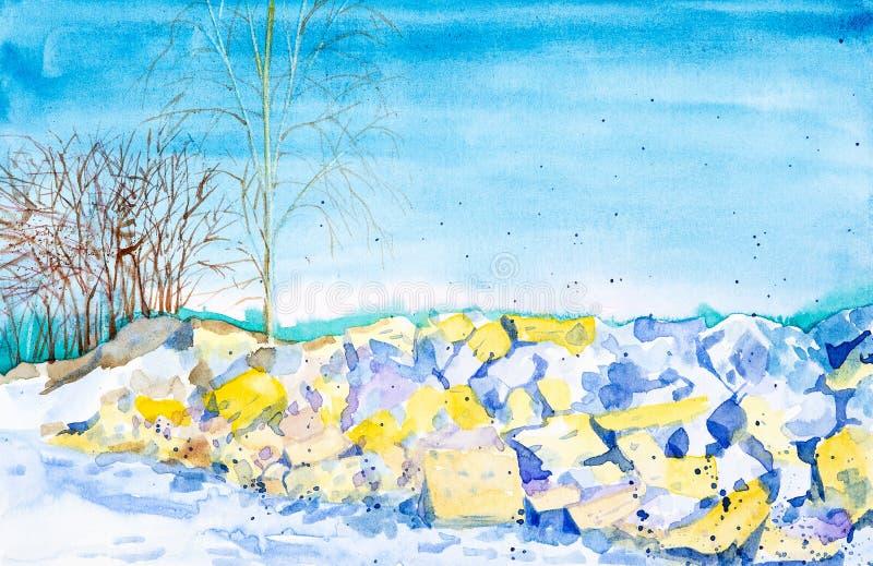 De sneeuw smelt op de rotsen in de lente onder de bomen en het bos op de achtergrond Waterverfillustratie op wit wordt ge?soleerd stock illustratie