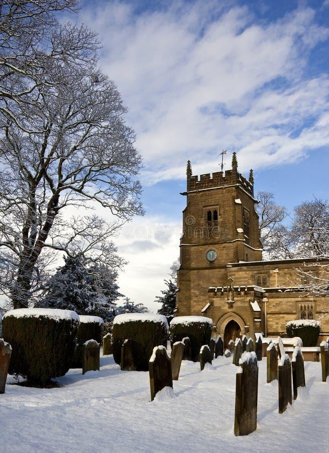 De Sneeuw van de winter - Yorkshire - Engeland stock afbeelding
