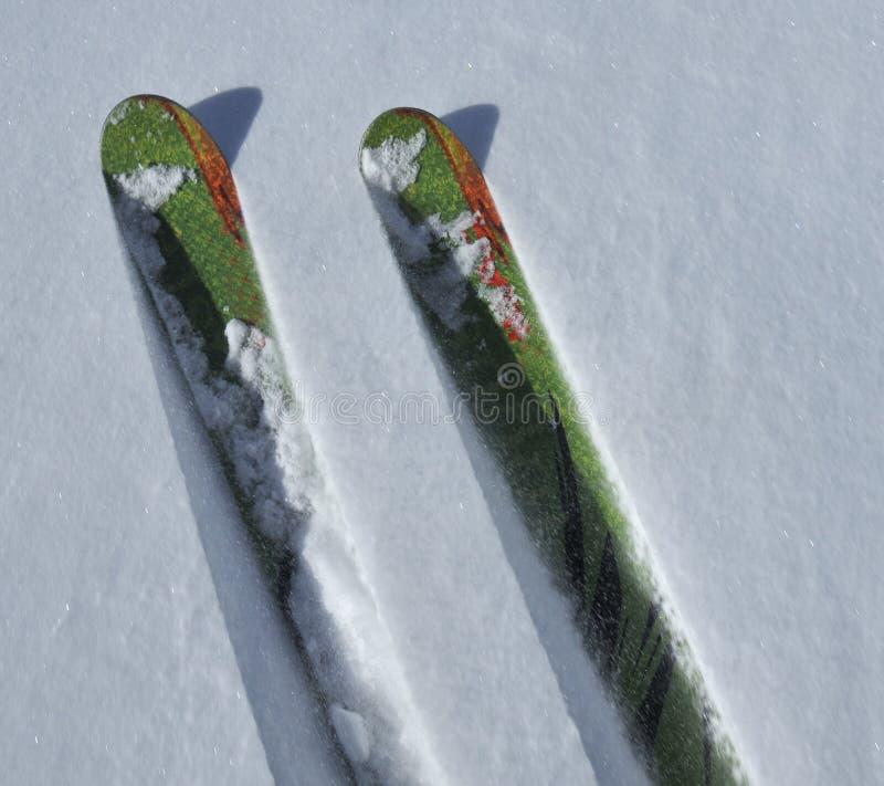 De sneeuw van het poeder het skiån stock foto