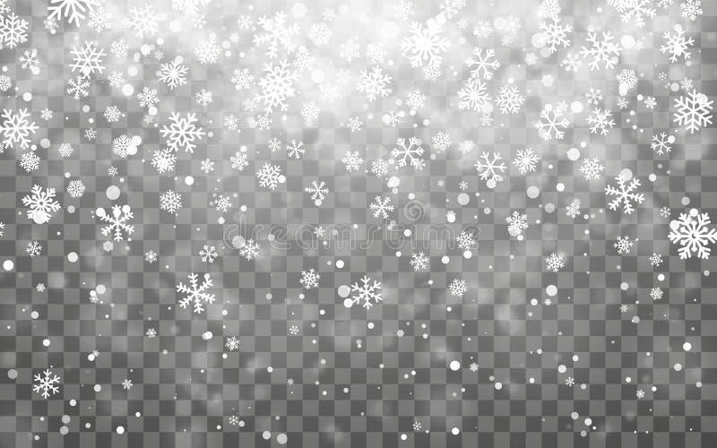 De sneeuw van Kerstmis Dalende sneeuwvlokken op donkere achtergrond Effect van de sneeuwvlok het transparante decoratie De vlokpa stock illustratie