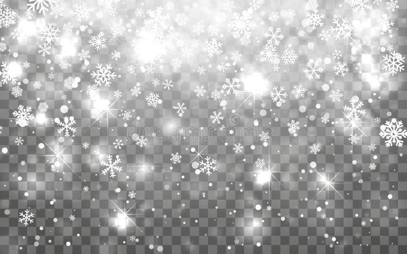 De sneeuw van Kerstmis Dalende sneeuwvlokken op donkere achtergrond Effect van de sneeuwvlok het transparante decoratie De vlokpa vector illustratie