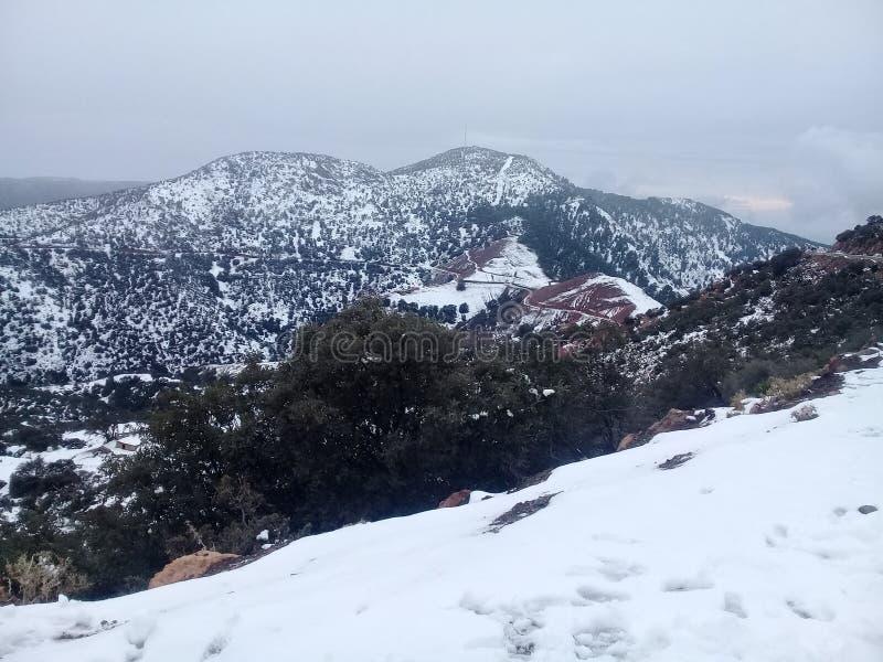 De sneeuw, zet, panorama op royalty-vrije stock afbeeldingen