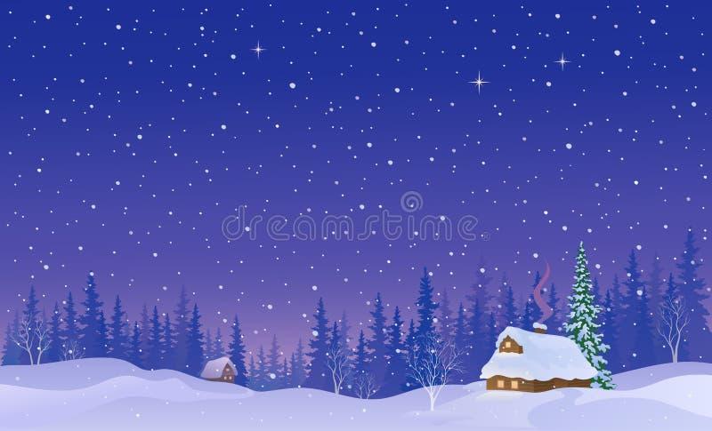De sneeuwachtergrond van het nachtlandschap royalty-vrije illustratie