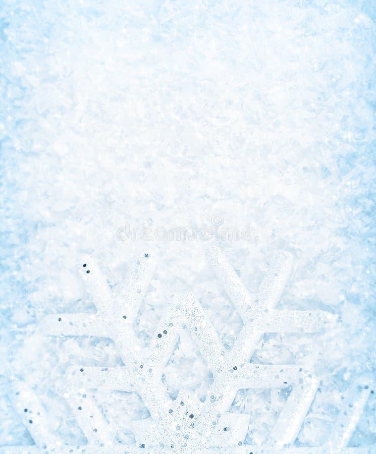 De sneeuwachtergrond van Kerstmis, sneeuwvlokgrens stock afbeelding