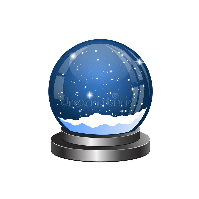 De sneeuwbol van Kerstmis met de dalende sneeuw royalty-vrije illustratie
