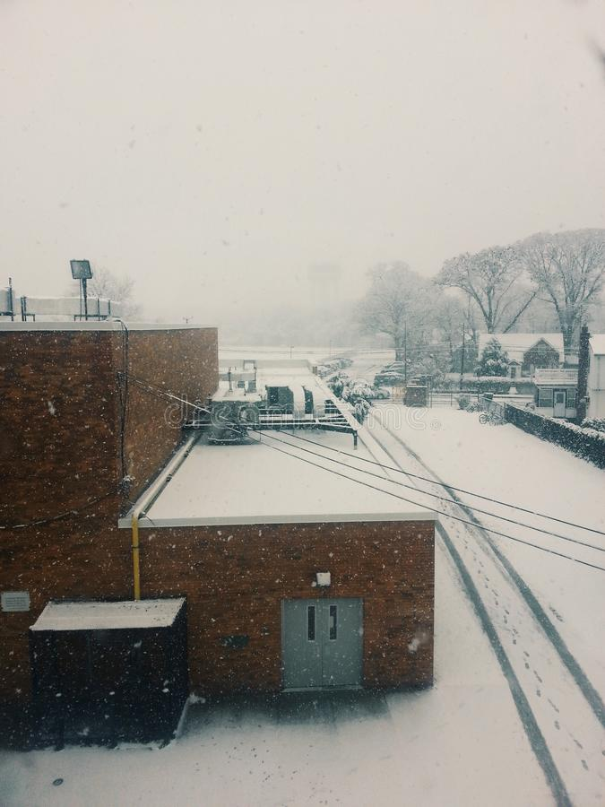 De sneeuwdag van New York stock afbeeldingen