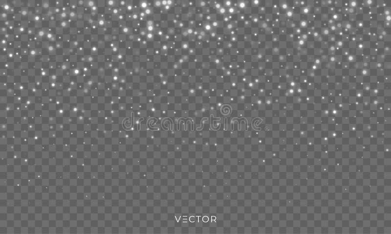 De sneeuwdaling, de vector glanzende achtergrond van de sneeuwvlokkenbekleding, de vlokken van de Kerstmissneeuwval en de winter  royalty-vrije illustratie