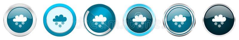 De sneeuwende zilveren metaalpictogrammen van de chroomgrens in 6 opties, reeks Web blauwe ronde die knopen op witte achtergrond  stock illustratie