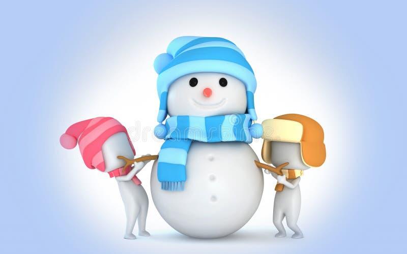 De sneeuwjonge geitjes van de sneeuwman 3d Winter royalty-vrije stock afbeeldingen
