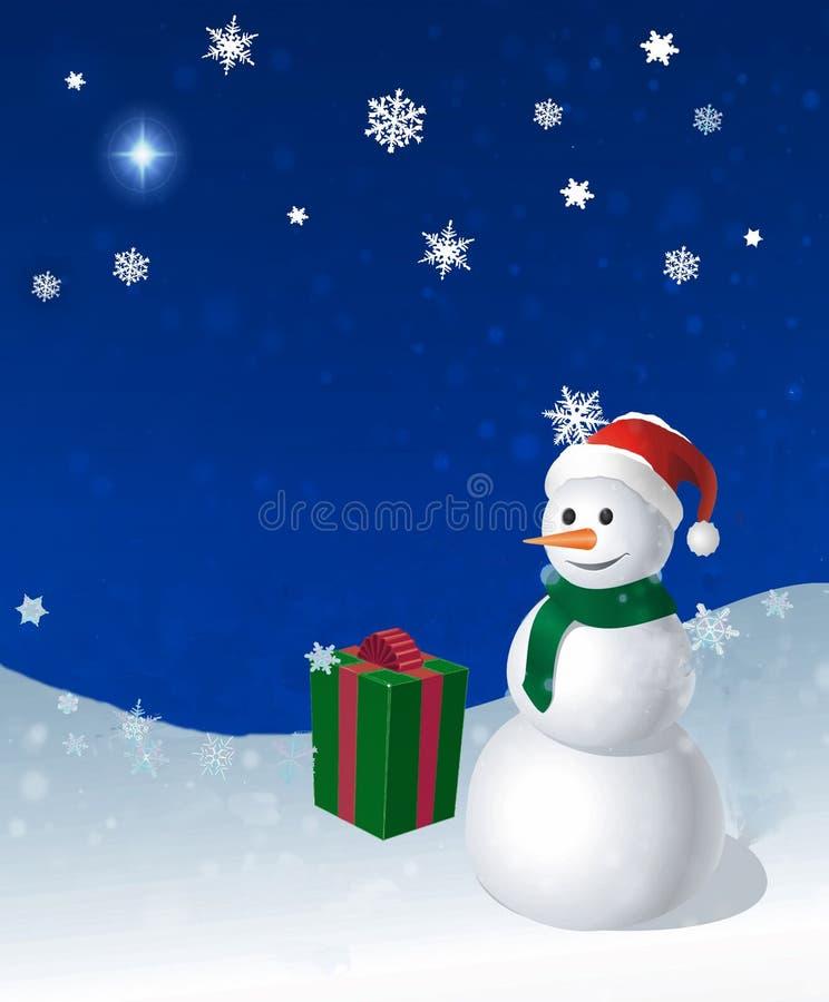 De sneeuwman en de gift van de vakantie royalty-vrije stock afbeeldingen