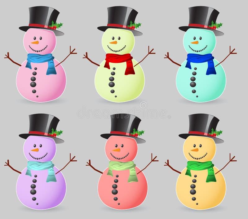 De sneeuwman van de kleur stock illustratie
