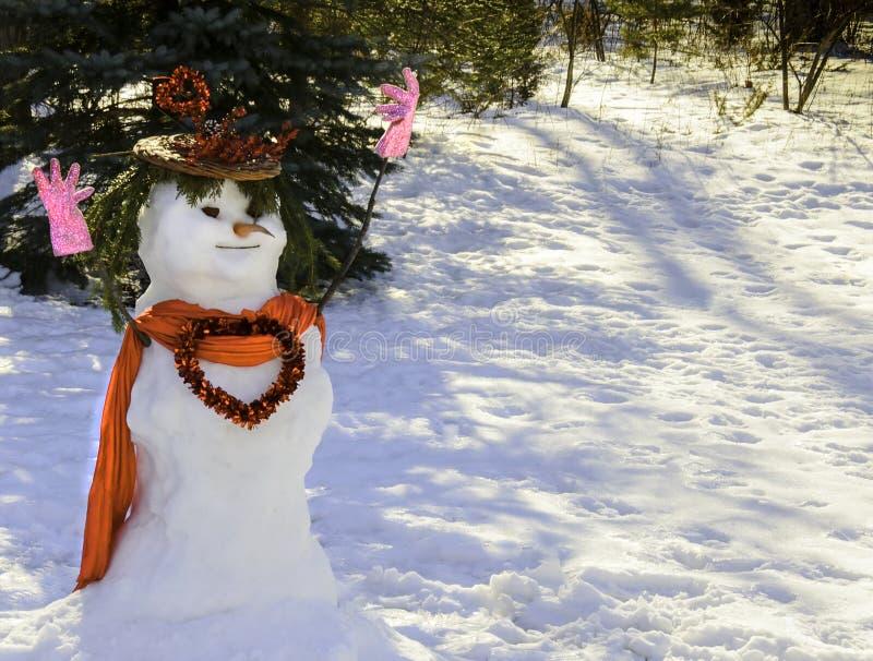 De Sneeuwman van de valentijnskaart met hart stock afbeeldingen