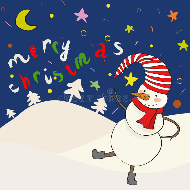 De sneeuwman van het beeldverhaal binnen   stock illustratie