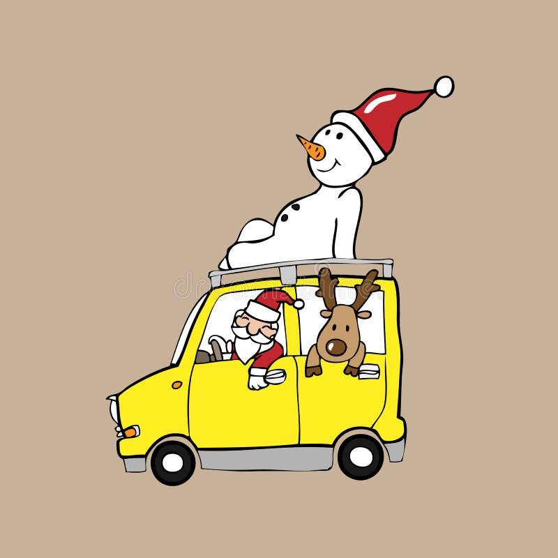 De sneeuwman van het de Kerstmanrendier van het Kerstmisteam stock illustratie
