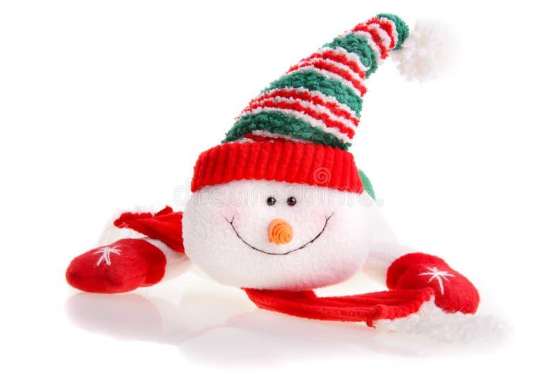 De sneeuwman van Kerstmis die op een witte achtergrond wordt geïsoleerd royalty-vrije stock afbeeldingen