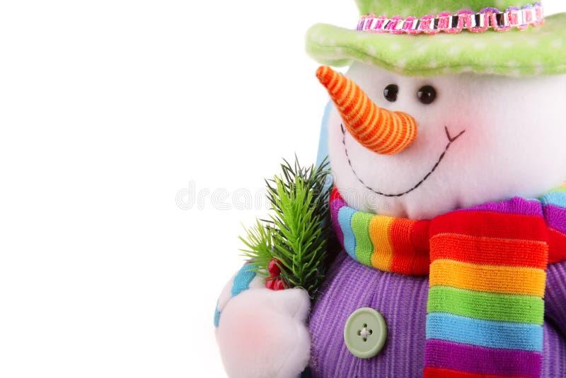 De sneeuwman van Kerstmis die op een witte achtergrond wordt geïsoleerde royalty-vrije stock foto's